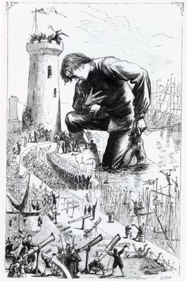 Gulliver kneels before the Lilliputians after stealing the Blefuscudian fleet, illustration from 'Gulliver's Travels' by Jonathan Swift, 1864