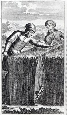 Gulliver is discovered by a farmer in Brobdingnag, illustration from 'Gulliver's Travels' by Jonathan Swift
