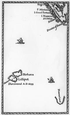Map of Lilliput and Blefuscu, from the first edition of 'Gulliver's Travels' by Jonathan Swift, 1726