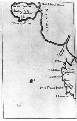 Map of Brobdingnag, illustration from the first edition of 'Gulliver's Travels' by Jonathan Swift, 1726