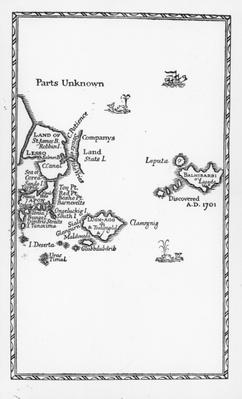 Map of Laputa, Balnibari, Luggnagg, Glubbdubdrib and Japan, illustration from the first edition of 'Gulliver's Travels' by Jonathan Swift, 1726