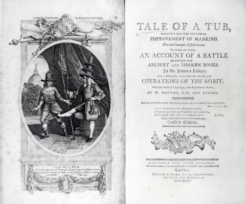 Frontispiece and Titlepage to 'A Tale of a Tub' by Jonathan Swift, engraved by Charles Warren, 1798