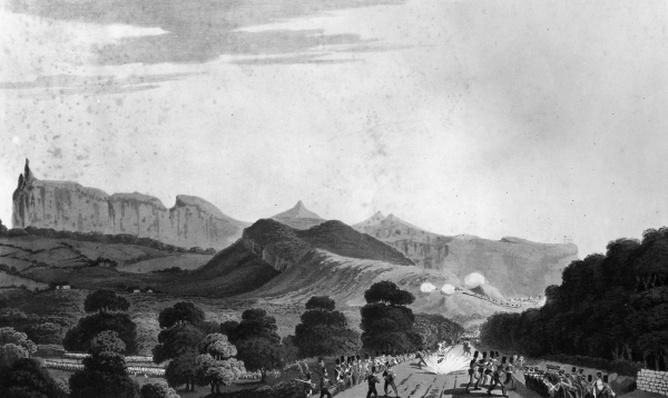 Part of the British Army forming before Port Louis, engraved by I. Clark, 1813