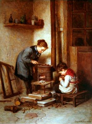 Roasting Chestnuts, 1882 by Frere, Pierre Edouard (1819-86)