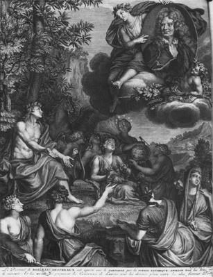 Frontispiece to 'Oeuvres' by Nicolas Boileau, known as Boileau-Despreaux, triumph of Boileau, published in 1718, Amsterdam