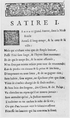 First page of 'Satires' by Nicolas Boileau, known as Boileau-Despreaux, published in 1685