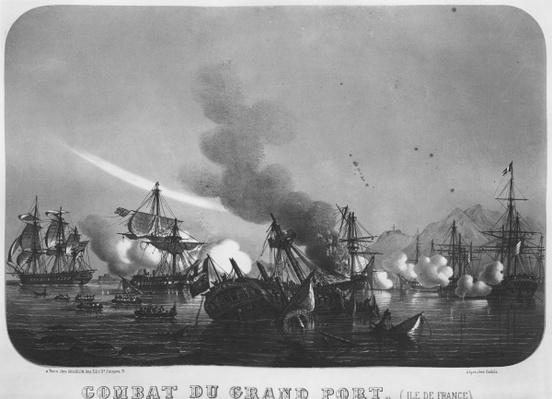 Naval battle of Grand Port, Mauritius, in 1810