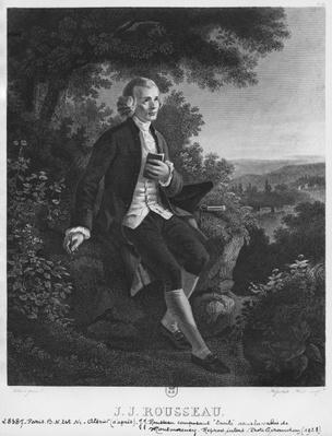 Jean-Jacques Rousseau composing 'Emile' in Montmorency valley, engraved by Hippolyte Huet