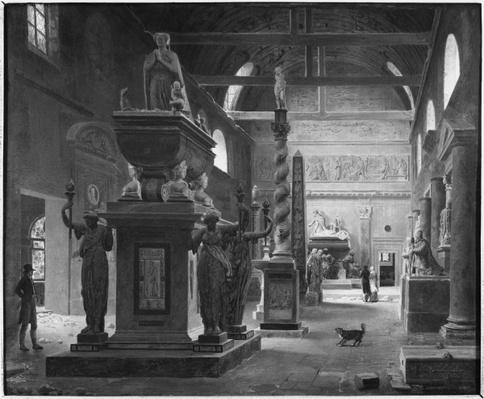 The great room of the Musee des Monuments Francais, c.1820