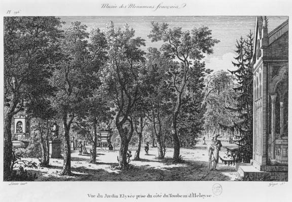 Musee des Monuments Francais, Paris, view of the Jardin Elysee from the tomb of Heloise and Abelard, engraved by Laurent Guyot