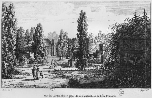 Musee des Monuments Francais, Paris, view of the Jardin Elysee from the tomb of Rene Descartes, engraved by Laurent Guyot