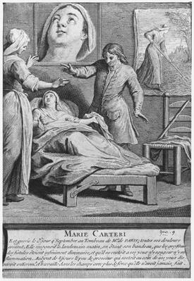Miraculous healing of a blind woman, Marie Carteri, on the tomb of Deacon Francois de Paris at the parish cemetery Saint-Medard in Paris, engraved by Pieter Yver