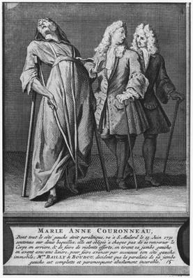 Miraculous healing of a paralytic, Marie-Anne Couronneau, on the tomb of Deacon Francois de Paris at the parish cemetery Saint-Medard in Paris, 13th June 1731, engraved by Pieter Yver