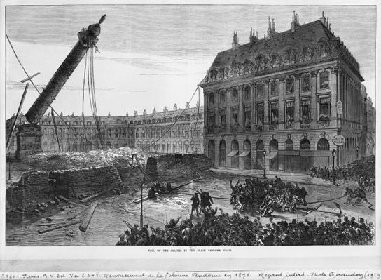 Fall of the column in the Place Vendome, Paris, 1871