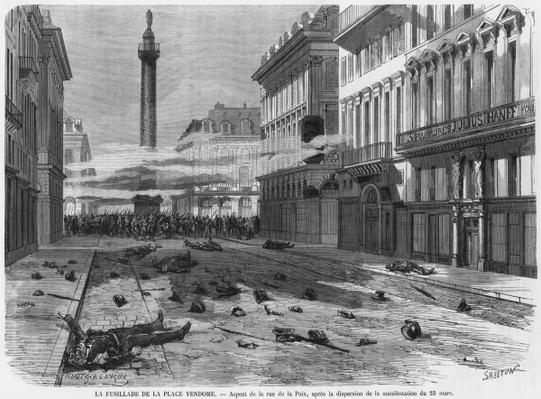 Shooting from the Place Vendome, after the dispersal of the demonstration in rue de la Paix, Paris, engraved by Burn Smeeton