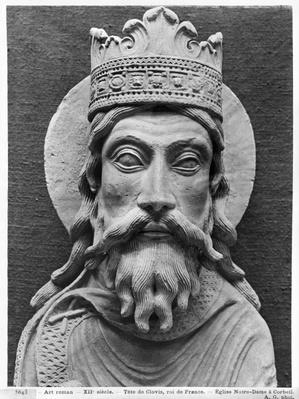 Head of Clovis I, from the Church Notre-Dame of Corbeil