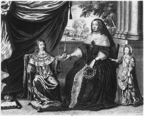 Anne of Austria, Queen of France and Navarre, and her sons, Dauphin Louis of France, future Louis XIV, and Philippe I, Duke of Orleans, 1643