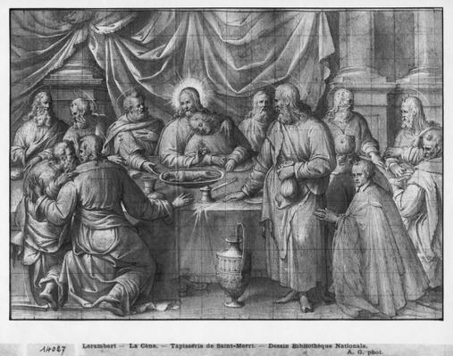 Life of Christ, the Last Supper, preparatory study of tapestry cartoon for the Church Saint-Merri in Paris, c.1585-90