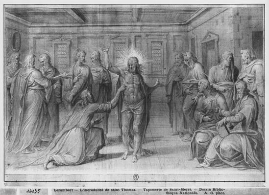 Life of Christ, Incredulity of St. Thomas, preparatory study of tapestry cartoon for the Church Saint-Merri in Paris, c.1585-90