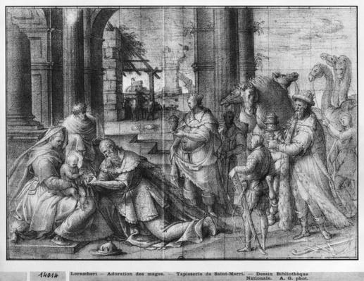 Life of Christ, Adoration of the Magi, preparatory study of tapestry cartoon for the Church Saint-Merri in Paris, c.1585-90