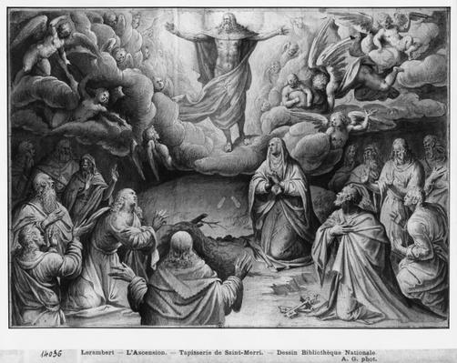 Life of Christ, Ascension, preparatory study of tapestry cartoon for the Church Saint-Merri in Paris, c.1585-90