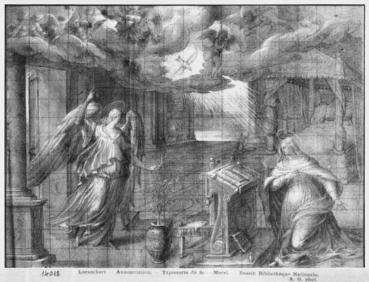 Life of Christ, Annunciation, preparatory study of tapestry cartoon for the Church Saint-Merri in Paris, c.1585-90