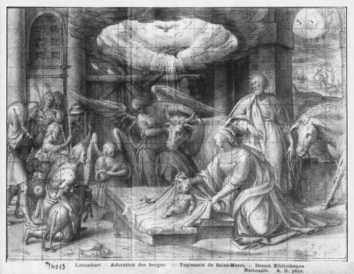 Life of Christ, Adoration of the shepherds, preparatory study of tapestry cartoon for the Church Saint-Merri in Paris, c.1585-90