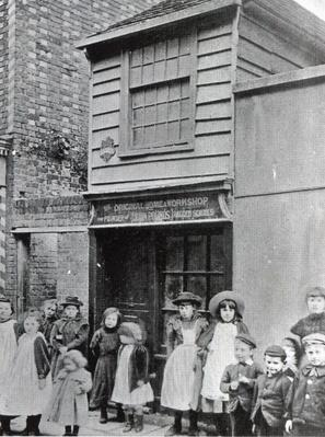 Children outside John Pounds's workshop, from which he ran the first Ragged school