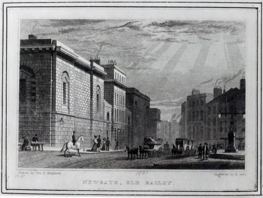 Newgate prison and the Old Bailey, engraved by Robert Acon, 1831