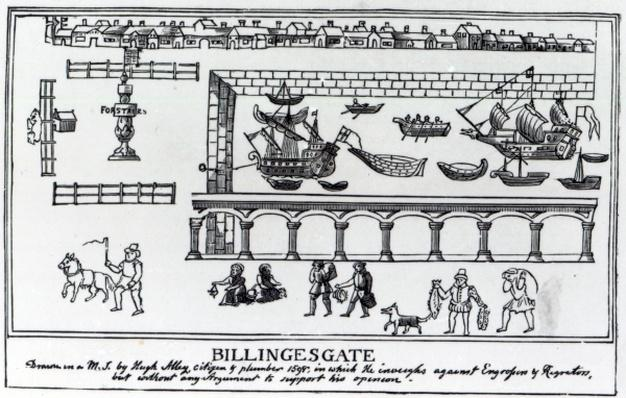 Billingsgate Market, London, after an original drawing from c.1598