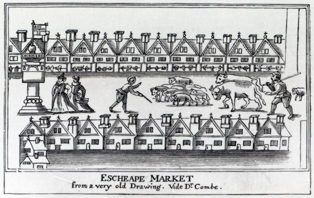 Escheape Market, after an original drawing from c.1598
