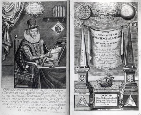 Frontispiece and Titlepage from 'Instauratio Magna' by Francis Bacon, 1640