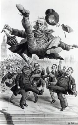 Gladstone being kicked out of parliament, c.1894
