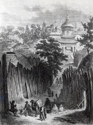 Street in Urga, illustration from 'Mongolia, the Tangut Country and the Solitudes of Northern Tibet' by Colonel Prejevalsky, english edition, 1876