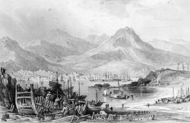 Hong-Kong from Kow-loon, engraved by Samuel Fisher