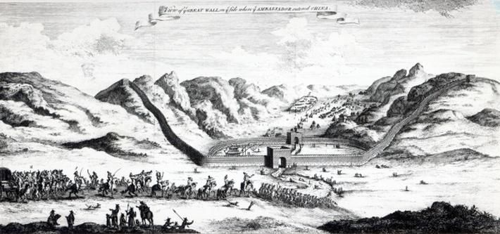View of the Great Wall on the side where the Ambassador entered China, from 'A Collection of Voyages and Travels' by John Harris, 1748