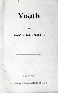 Title page to 'Youth', a collection of poems by Isaac Rosenberg, first edition 1915