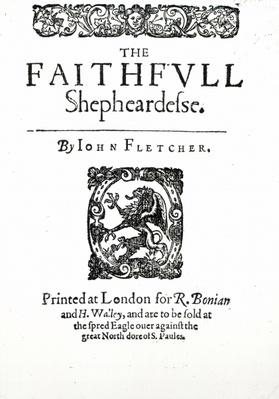Title Page to 'The Faithfull Shepherdess' by John Fletcher, c.1609