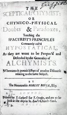 Title page to 'The Sceptical Chymist' by Robert Boyle, 1661