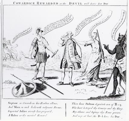 Cowardice Rewarded or the Devil will have his Due, 1756