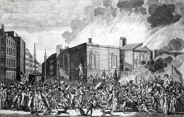 An exact representation of the Burning, Plundering and Destruction of Newgate by the Rioters on the memorable 7th June 1780, engraved by Henry Roberts, 1781