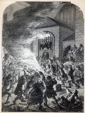 The 'No Popery' rioters burning the prison of Newgate in 1780