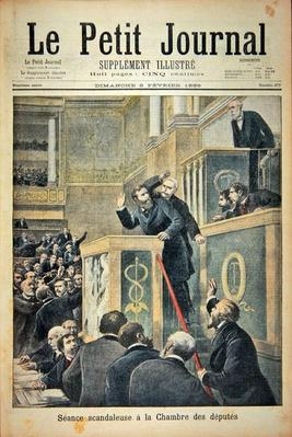 Title page depicting the scandalous meeting of the House of Deputies: Jean Jaures attacked by Bernis during a debate on the Dreyfus Affair