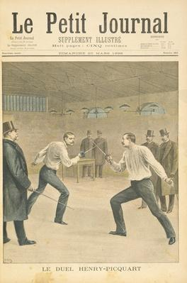 Title page depicting the Henry-Picquart duel, opposing officers during the Dreyfus affair, illustration from the illustrated supplement of Le Petit Journal, 20th March, 1898