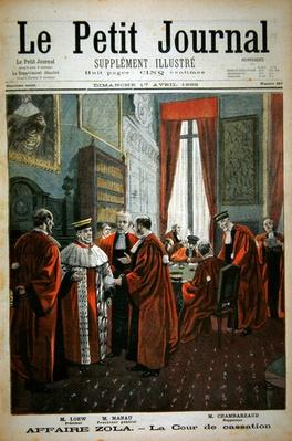 Title page depicting the Court of Cassation with Mr. Loew, Mr. Chambareaud and Mr. Manau, illustration from the illustrated supplement of Le Petit Journal, 17th April, 1898