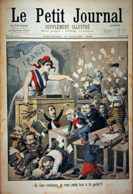 Title page depicting a ruckus in the House of Deputies, illustration from the illustrated supplement of Le Petit Journal, 10th July, 1898