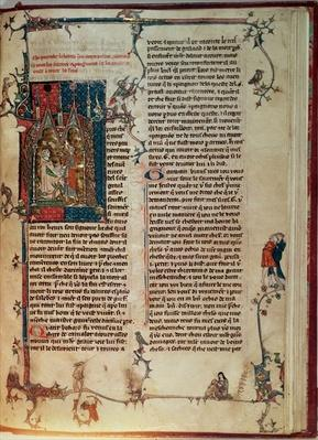 Fr 1 f.82r Vol. I Walter Map taking down a story of the adventures of the Knights of the Round Table on the quest of the Holy Grail at the dictation o