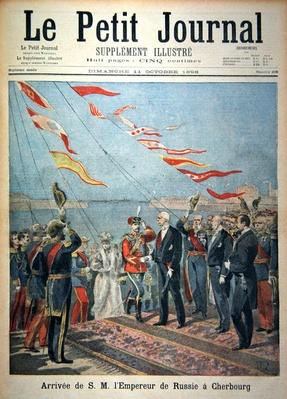 Title page depicting the arrival of his majesty the Emperor of Russia in Cherbourg, illustration from the illustrated supplement of Le Petit Journal, 11th October, 1896