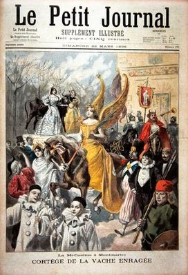 Title page depicting the procession of the mad cow, mid-Lent in Montmartre, illustration from the illustrated supplement of Le Petit Journal, 22nd March, 1896