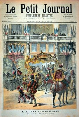 Title page depicting the mid-Lent parade in front of the Petit Journal offices, illustration from the illustrated supplement of Le Petit Journal, 2nd April, 1892